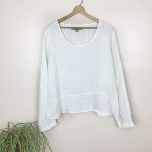 [Flax]Linen Over sized White Long Sleeve Top
